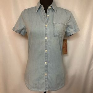 TRUE RELIGION Womens Short-Sleeve Denim Shirt Blue